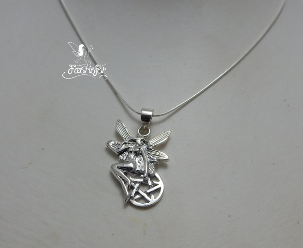 Fairy Protection pentagram necklace in sterling silver.