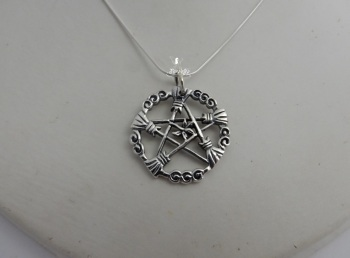 Broom of The Elders Pentagram necklace broomstick witchcraft wicca