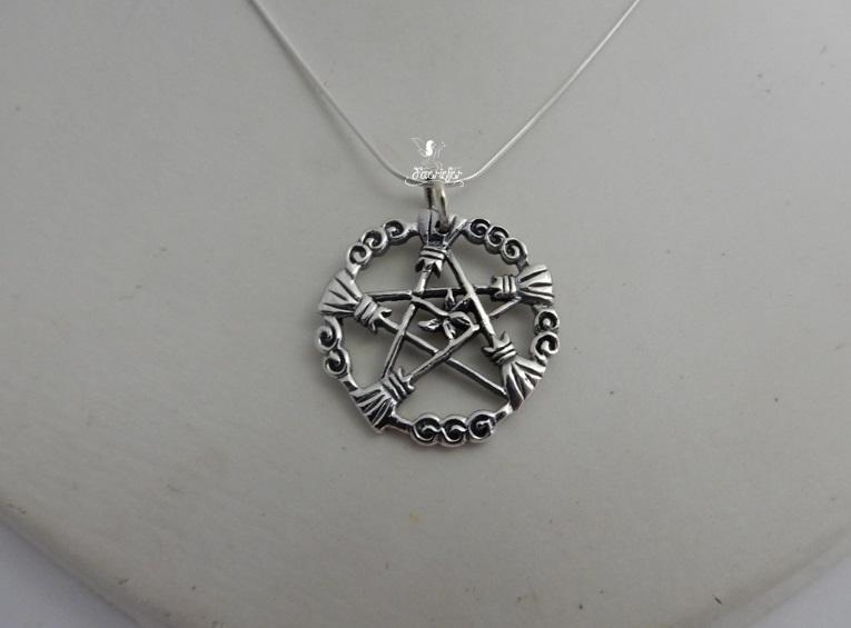 Brooms of The Elders Pentagram necklace
