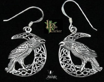 Raven on Moon Earrings by Lisa Parker