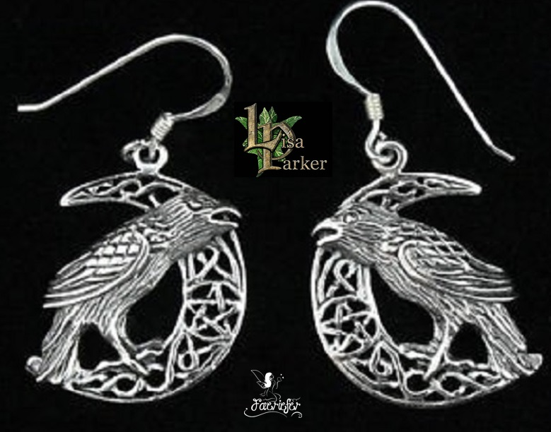 Silver Raven on Moon Earrings by Lisa Parker