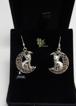 Cat on Moon Earrings by Lisa Parker silver