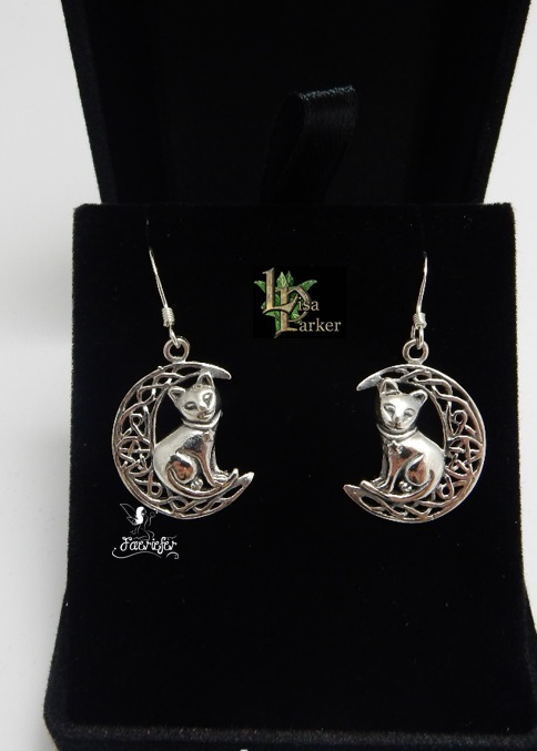 Silver Cat on Moon Earrings by Lisa Parker