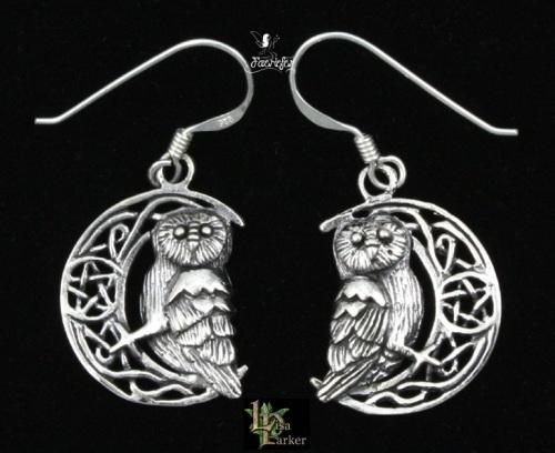 Silver Owl on Moon Earrings by Lisa Parker