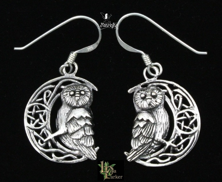 Silver Owl on Moon Earrings by Lisa Parker