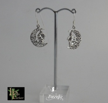 Moon Gazing Hare Earrings by Lisa Parker silver
