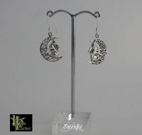 Silver Moon Gazing Hare Earrings by Lisa Parker