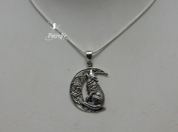 Sterling Silver Wolf on pentagram Moon necklace by Lisa Parker