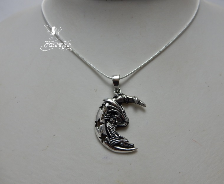 Silver Sleeping Dragon On The Moon necklace by Lisa Parker