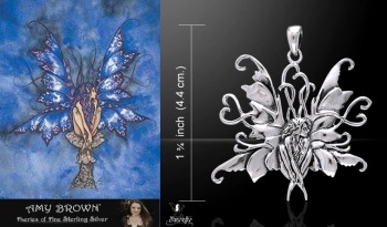 Amy Brown Blue Fairy Pendant sterling silver