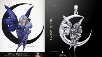 Amy Brown Moon Dream Fairy Pendant sterling silver