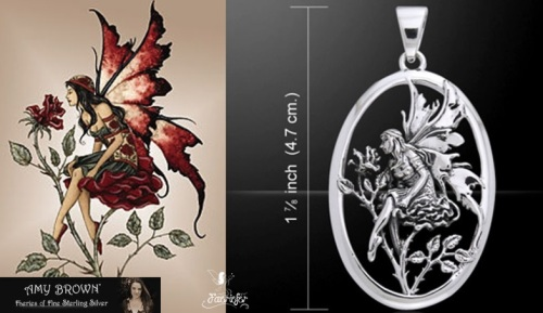 Red Rose Fairy pendant designed by Amy brown fantasy fairy artist