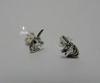 Unicorn Head Stud Earrings Sterling Silver