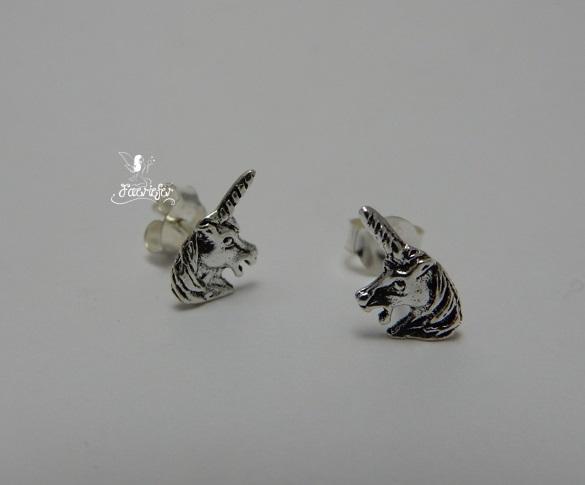 Unicorn Head Stud Earrings Sterling Silver