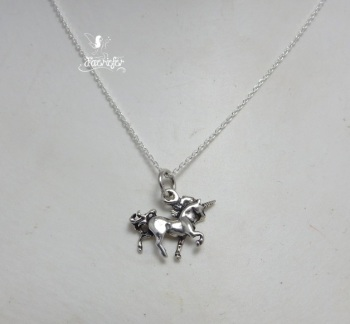 Unicorn Strutting sterling silver necklace