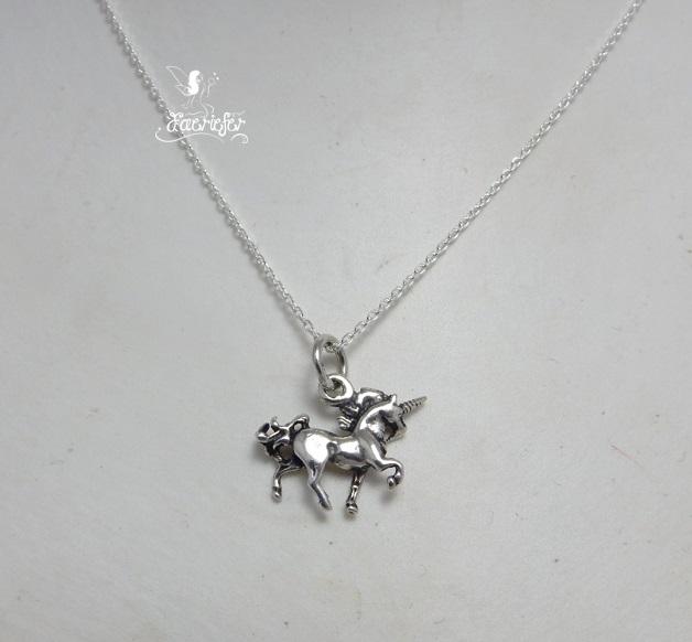 Unicorn Strutting sterling silver necklace