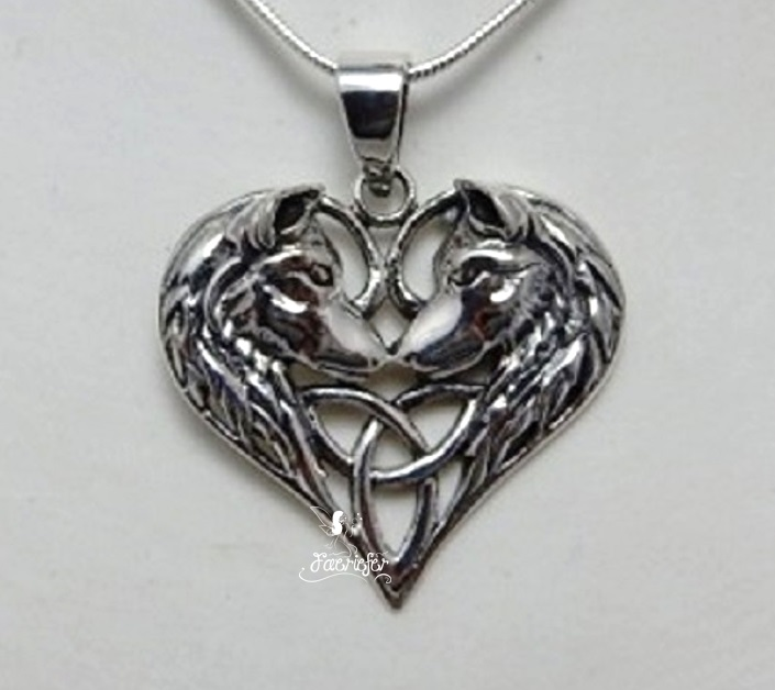 Stunning 925 Sterling Silver Wolf Heart pendant designed by Lisa Parker.