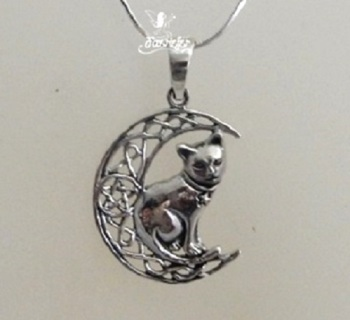 Cat on Moon necklace by Lisa Parker silver
