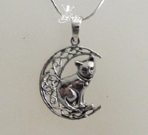 Silver Cat on Moon necklace by Lisa Parker