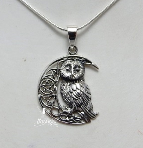 Sterling Silver Owl on pentagram Moon necklace by Lisa Parker