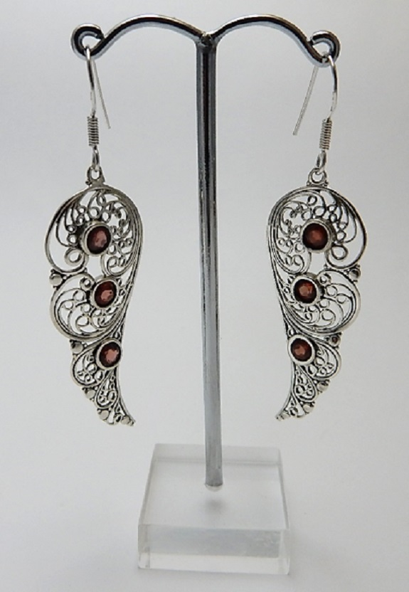 Sterling silver filigree Faerie Wing Earrings with garnet stones