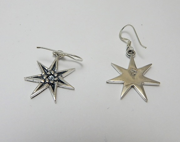 Elven Faerie Star silver fairy heptogram earrings seven sided star sterling