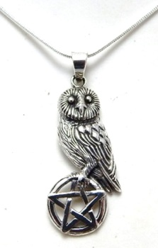 Owl on pentagram necklace by Lisa Parker