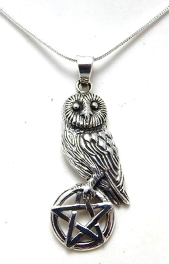 Sterling Silver Owl on pentagram necklace by Lisa Parker