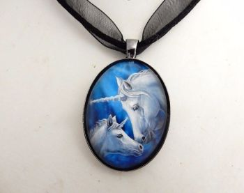 Sacred Love glass cabochon unicorns necklace by Lisa Parker