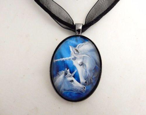 Sacred Love glass cabochon unicorns necklace by Lisa Parker