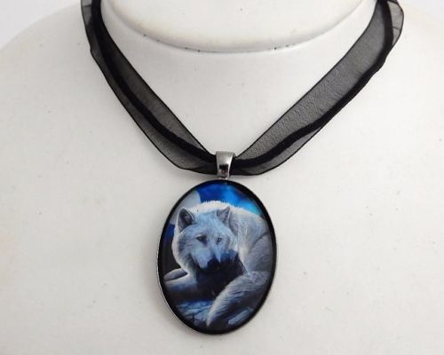 Guardian Of The North glass cabochon necklace by Lisa Parker