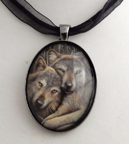 Loyal Companions glass cabochon necklace by Lisa Parker