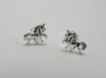 Tiny Unicorn stud Earrings sterling silver