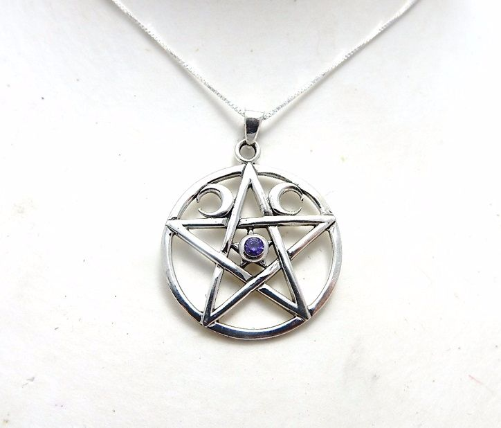 Triple Moon Pentagram Sterling silver necklace with amethyst .925 pagan