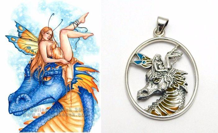 Dragon Feary Sterling Silver fairy pendant by fantasy artist Selina Fenech