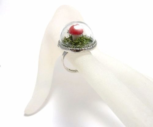 Fairy Toadstool in the Forest Moss Ring