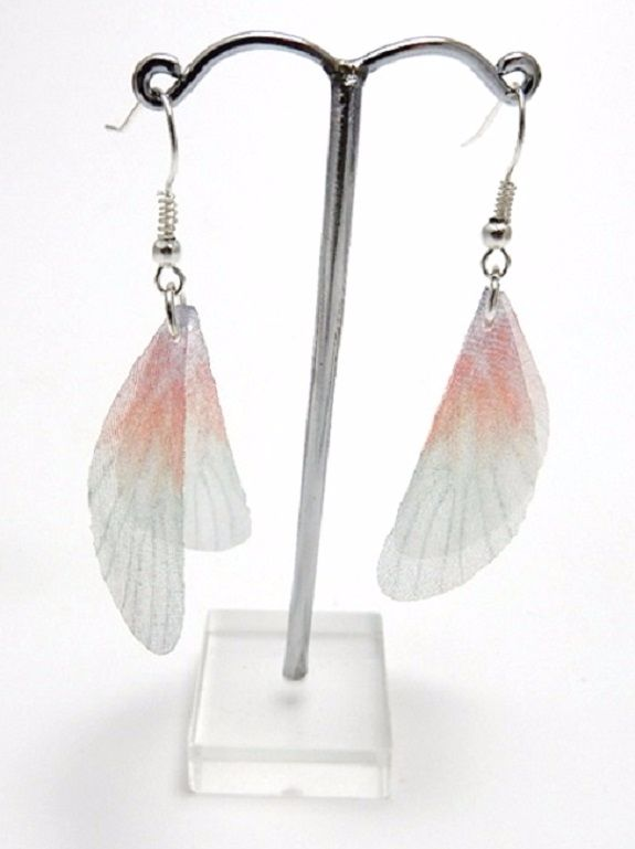 Enchanting Fae Wing Earrings - Peach