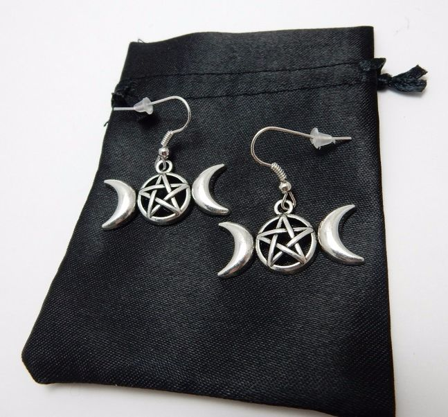 Triple Moon Pentagram Earrings