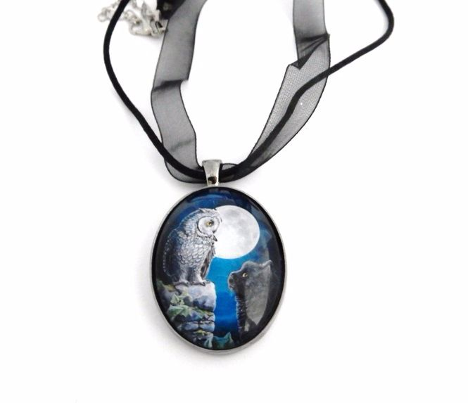 Purrfect Wisdom glass cabochon necklace - Lisa Parker