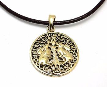 Double Hares pendant by Lisa Parker - bronze