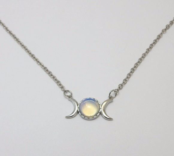 Triple Moon Goddess necklace with opalite stone