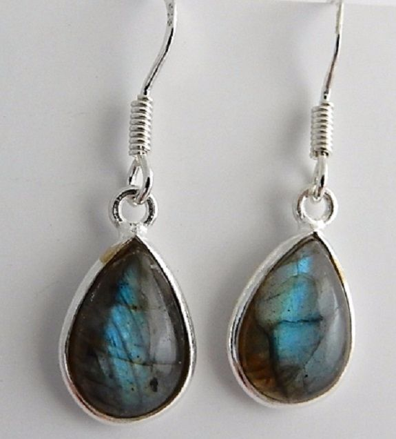 Dark Side of The Moon Labradorite Teardrop Earrings