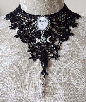 Wiccan Goddess lace necklace choker