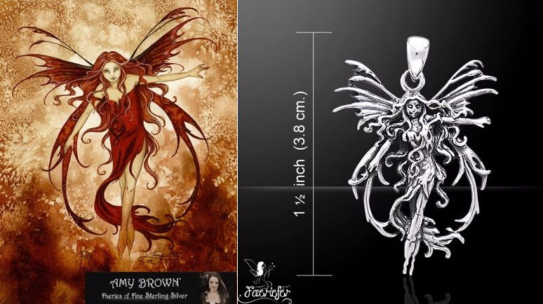 Amy Brown Fire Element Fairy Pendant Just Like Silver