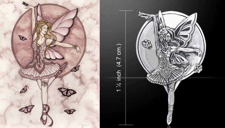 Mauve Dream Fairy pendant by Jessica Galbreth sterling silver