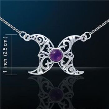 Blue Moon Wicca Necklace with amethyst