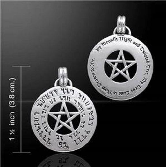 Love Spell Pentagram sterling silver Wicca Pentacle Rune Pendant