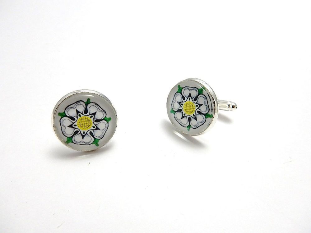 War Of The Roses Collection - White Rose of York CuffLinks
