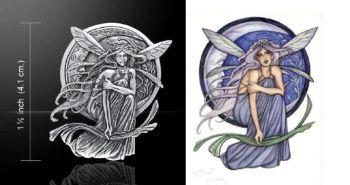 Bella Luna fairy pendant by artist Jessica Galbreth sterling silver