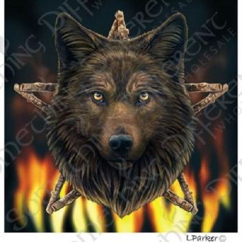 Wild Fire Wolf Lisa Parker greetings card